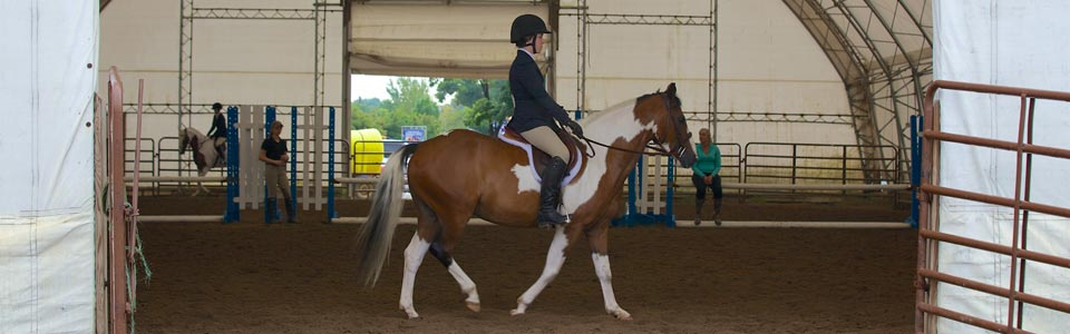 Photo of girl riding english style on her pinto pony in the MSF warm-up ring