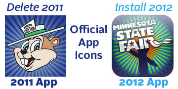 Examples of the 2011 app icon and the 2012 app icon
