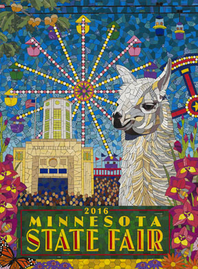 Photo of 2016 commemorative art by Michael Sweere. A mosaic featuring a general fair scene with a llama in the foreground.