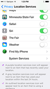 Photo of privacy-location services on iPhone