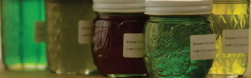 Colorful canning entries of jellies and jams