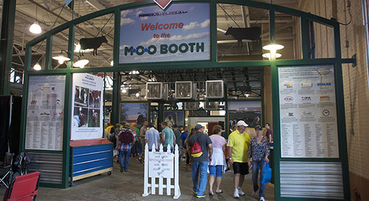 Photo of entrance to the Moo Booth in the Cattle Barn