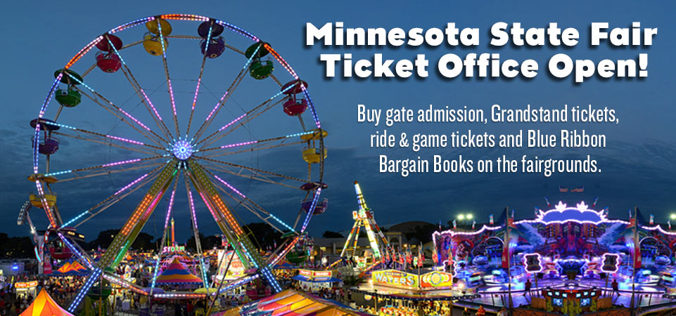 2016 Ticket Office Now Open. Buy gate admission, Grandstand tickets, ride and game tickets and Blue Ribbon Bargain Books.