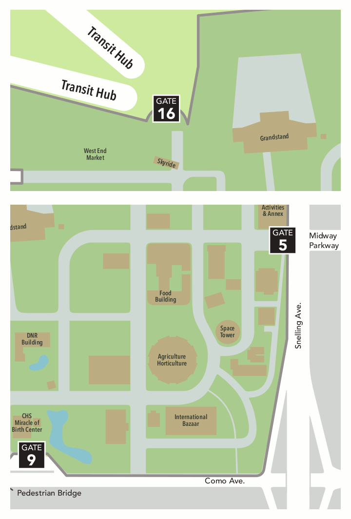 A map showing the Minnesota State Fair fairgrounds, and visually where the drop off locations are located on the map. Gate 9 is on the south side of the park, off Como Avenue, near CHS Miracle of Birth Center. Gate 5 is on the east side of the park, off Snelling Avenue, where Dan Patch Avenue starts. Transit Hub is at the northwest corner of the park, off Randall Avenue, near the West End Market.